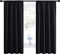 NICETOWN Black Blackout Curtain Blinds - Solid Thermal Insulated Window Treatment Blackout Drapes/Draperies for Bedroom (2 Panels, 42 inches Wide by 63 inches Long, Black)