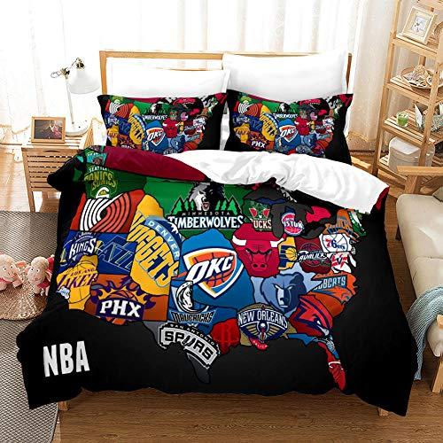 NBA Funda Edredon 220x240cm 3 Piezas Ropa de Cama de Microfibra Incluye 1 Funda Nórdica con Cierre de Cremallera y 2 Funda de Almohada 50x75 cm para Cama de Matrimonio