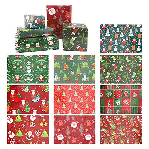 10 fogli Carta da regalo natalizia Carta da regalo natalizia Fogli di carta da regalo Carta da regalo di Buon Natale per sacchetti regalo Biglietti Busta Decorazione natalizia Forniture per bomboniere