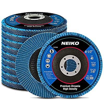 Neiko High Density Premium Zirconia Flap Disc, 10 Pack