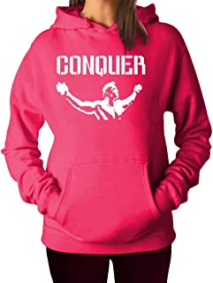 Women's Men's Arnold Quote Conquer Pose Gym Lifting Hoodie Hooded Sweater