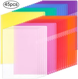 EOOUT 45pcs Plastic Clear Document Folders Project Pockets, for Letter Size and A4, 8 Assorted Colors