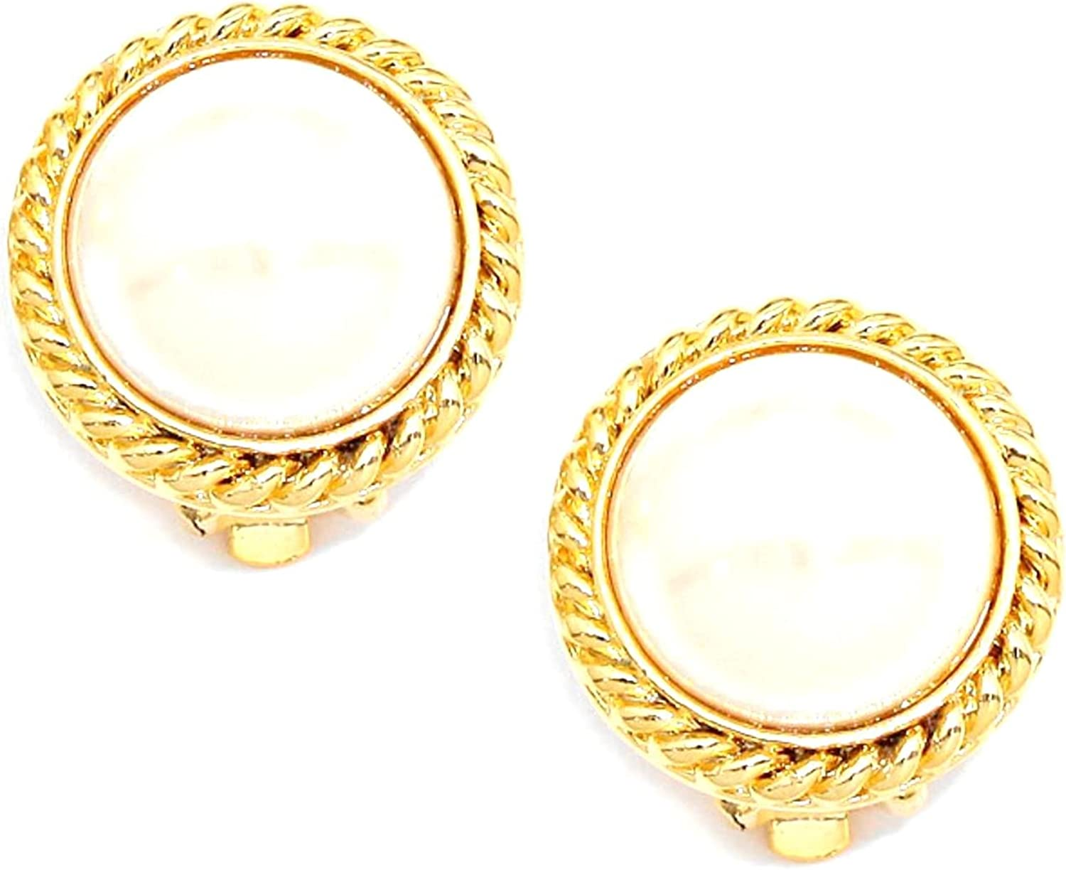 Metal Trimmed Imitation Pearl Clip on Earrings / AZERCO275-GPE