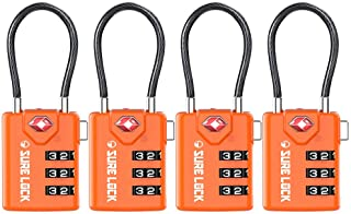 TSA Compatible Travel Luggage Locks, Inspection Indicator, Easy Read Dials TSA Approved Padlock with Zinc Alloy