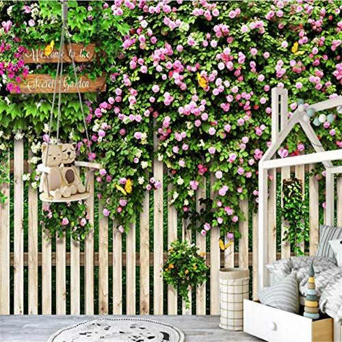 Sxjhds 3D Tapete Mediterran Park Zaun Rose Foto Mural Cafe Schlafzimmer Restaurant Dekoration Malerei, 300 * 210 cm