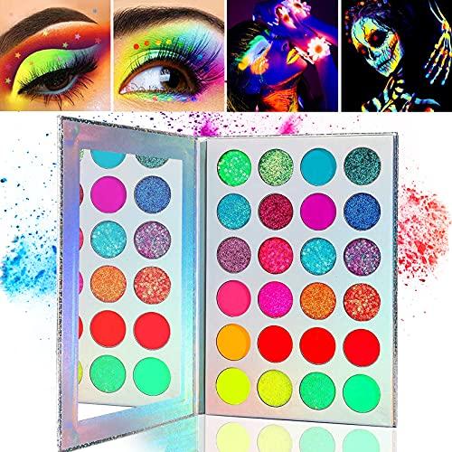 Kalolary Paleta de sombras de ojos Neon Luminous, paleta de maquillaje de sombras de ojos altamente pigmentadas de 24 colores, kit de maquillaje de brillo UV Blacklight mate y brillo
