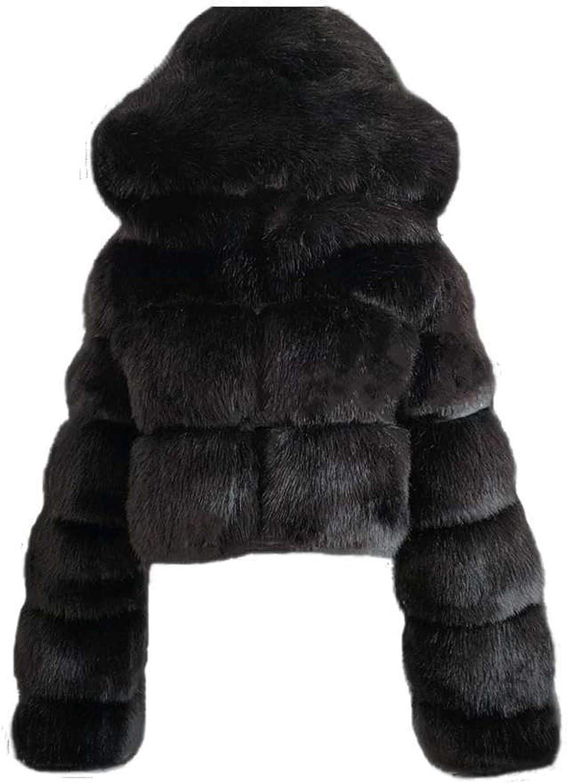 iQKA Women Short Faux Fur Coat Cropped Fluffy Jacket Hooded Winter Warm Fuzzy Splicing Jackets Long Sleeve Outerwear
