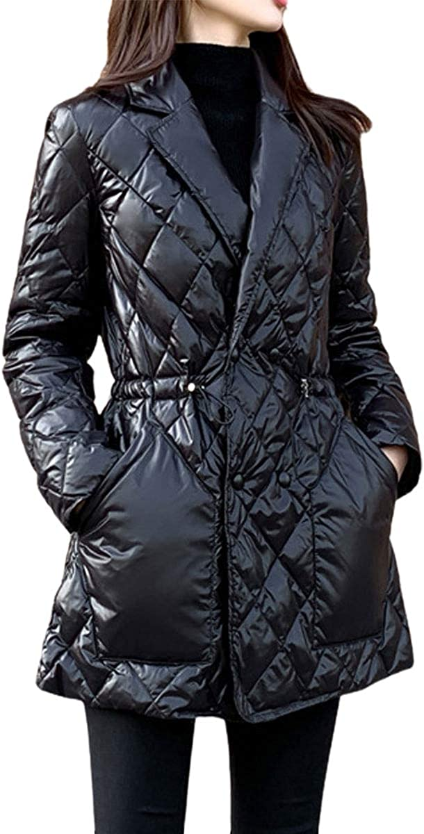 ebossy Women's Notched Collar Drawstring Waist Lightweight Insulated Quilted Jacket