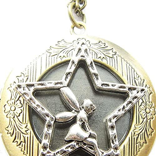 chaosong shop Colgante de medallón de hadas, colgante de medallón de ángel, joyería con medallón de ángel, estrella con medallón