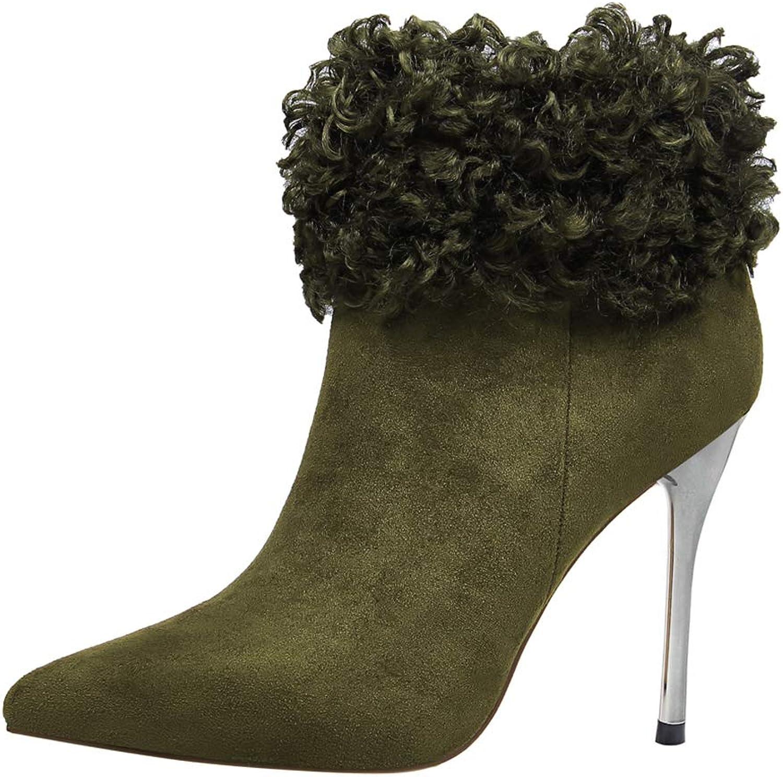 Sam bille kvinnor stövlar, mode mocka mocka mocka Hairy Pointed Toe High Thin Heel Ankle stövlar  80% rabatt