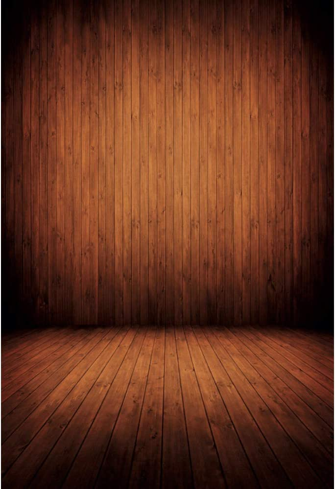 Renaiss 10x12ft Floor Wall Backdrop Vintage Brown Wooden Nostalgia Floor Wall Photography Background Wedding Party Pet Baby Girl Adult Baby Shower Products Photo Studio Shooting Props