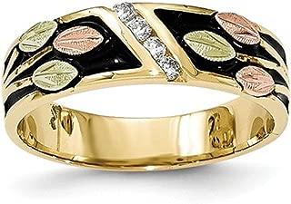 10K Antique Black Hills Gold Genuine Diamond Wedding Band Ring (0.08 CTTW, I-J Color, I2 Clarity)