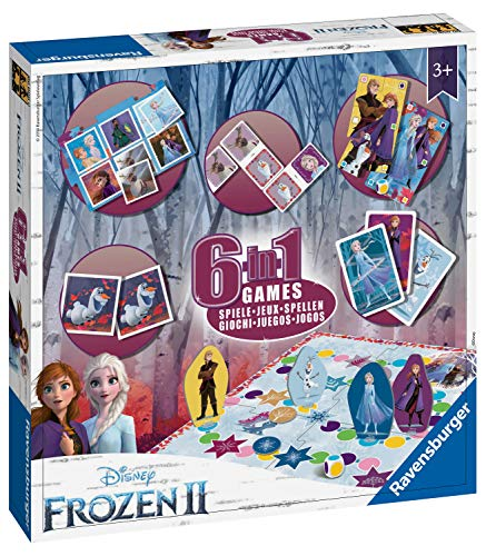 Ravensburger 20427 Disney Frozen 2, 6-in-1 Set für Kinder & Familien ab 3 Jahren, inkl. 6 klassischen Spielen: Bingo, Memory, Dominoes, Schlangen & Leitern, Checkers & Spielkarten