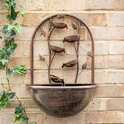 Ambienté 55cm Cascading Leaf Oslo Wall Mounted Water Feature with Lights