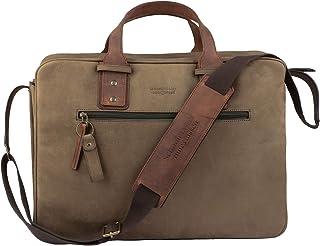 Schoolmaster by Ruitertassen Premium Bag - Olive, Luxus Ledertasche & Aktentasche im XL-Format, viele Innenfächer, Umhängetasche & Laptoptasche für Damen & Herren, Lehrertasche