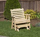 Amish Heavy Duty 600 Lb Classic Park Style Pressure Treated Porch Patio Garden Lawn Outdoor Glider Chair-2 Feet-Natural-Made in USA