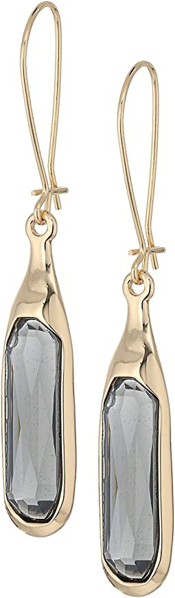 Faceted Stone Long Drop Earrings