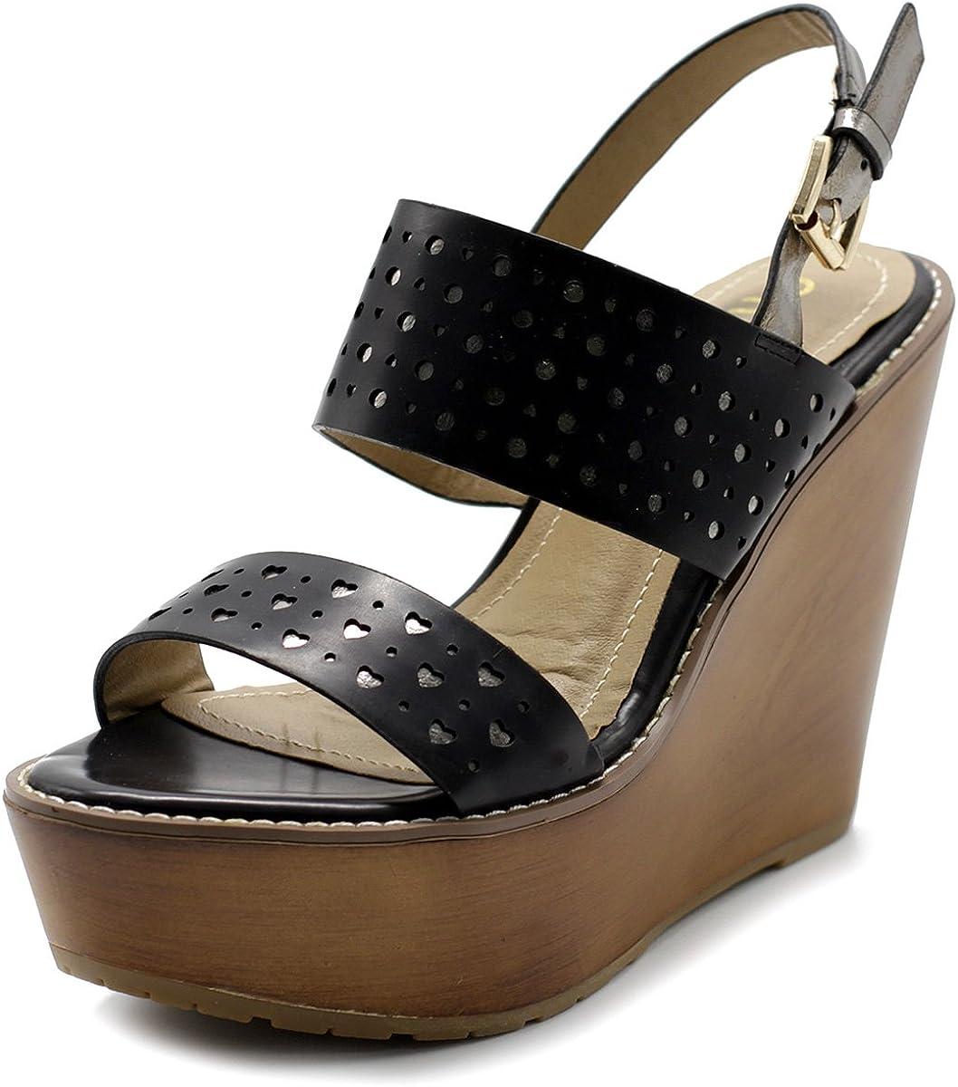 Ollio Phoenix Mall Womens Shoe Metallic Cutout Burnished Sandal Shipping included Wedge Heel