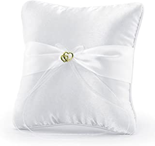 Ringkissen - Cojín para arras de boda (20 x 20 cm, con corazón dorado), color blanco