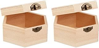 OLYCRAFT 2PCS Unfinished Wooden Box Hexagon Unpainted Wooden Box, Dedoot Wooden Box Natural Wood Box with Hinged Lid and F...