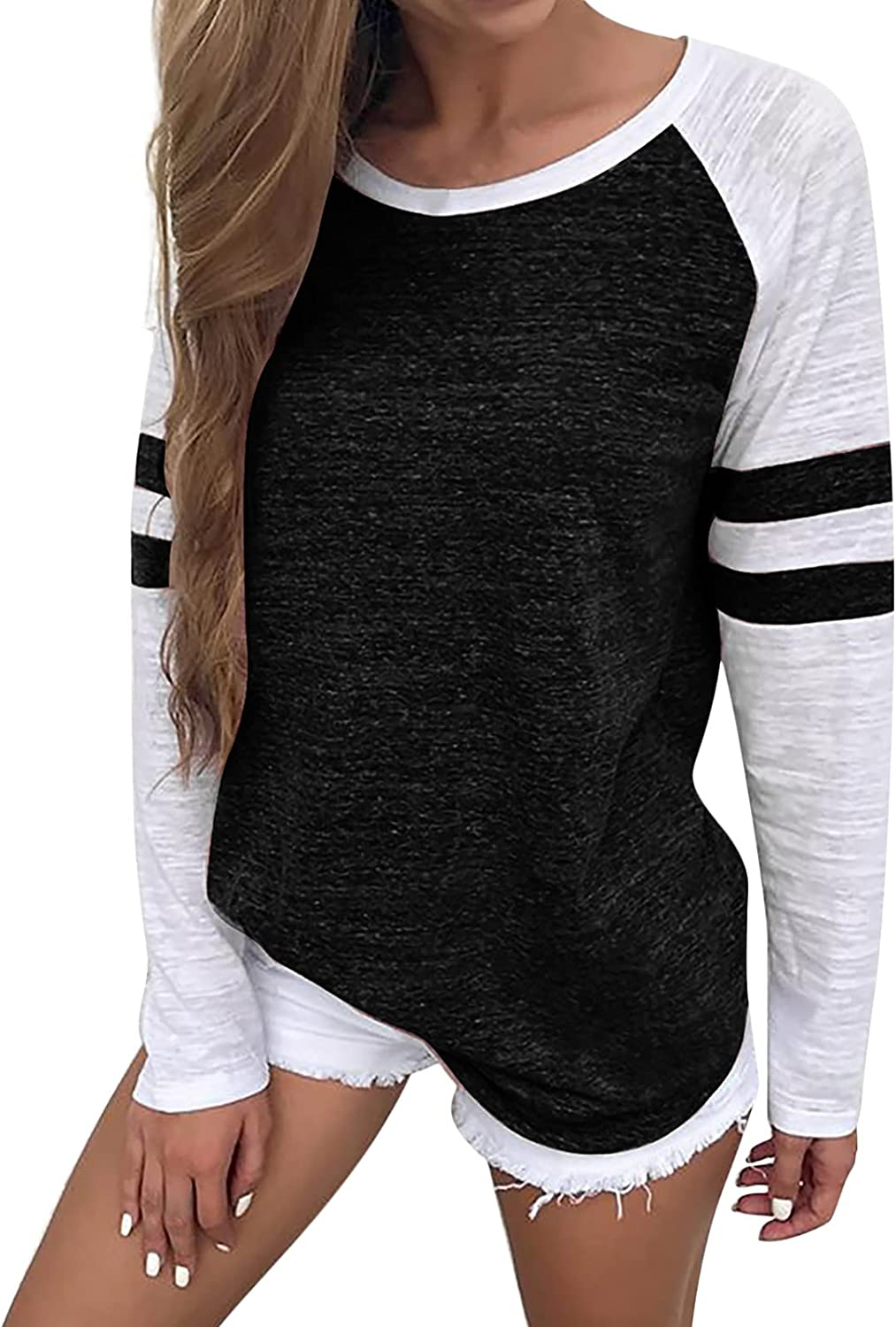 Women's Fall Color Block Sweatshirts Casual Long Sleeve Crewneck Tops Loose Fit Workout Tee Trendy Oversized Blouses