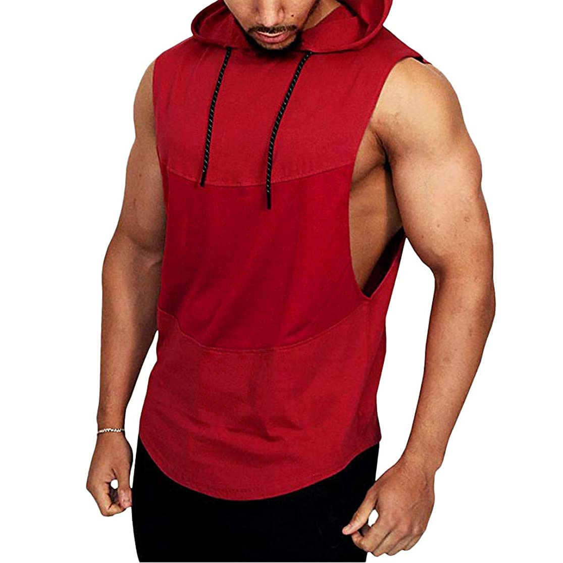 LISTHA Hoodie Vest Tank Men's Summer Casual Hooded Sleeveless Sport T-Shirt Tops stukzpzb5