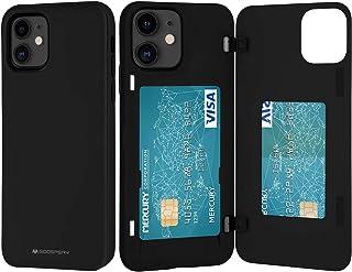 Goospery IP12M-MDB-BLK - Funda tipo cartera para iPhone 12 Mini con tarjetero, protección de doble capa (negro), color negro