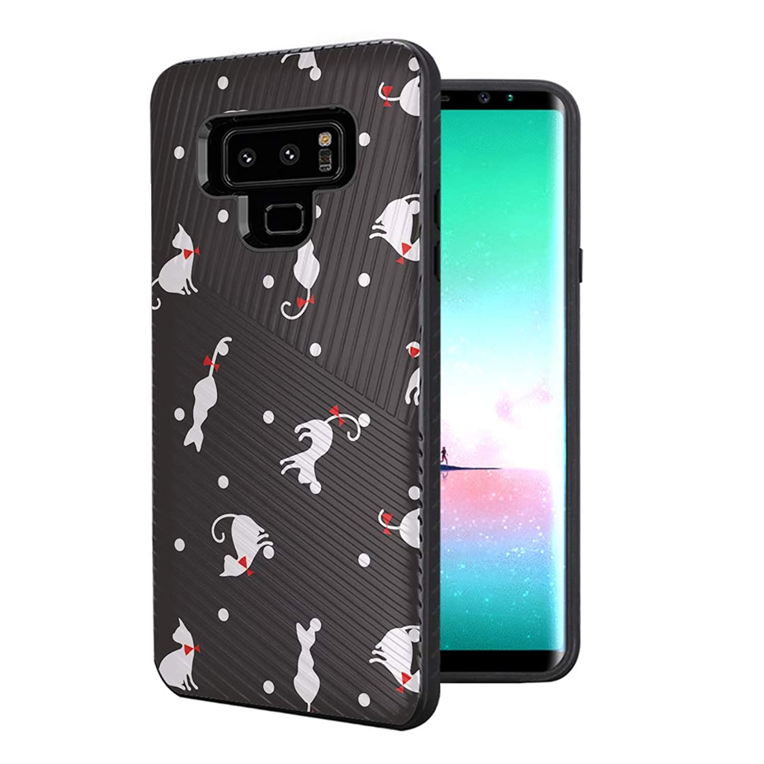 Capsule Case Compatible with Galaxy Note 9 [Embossed Diagonal Lines Hybrid Dual Layer Slim Armor Black Case] for Samsung Galaxy Note 9 - (Cats)