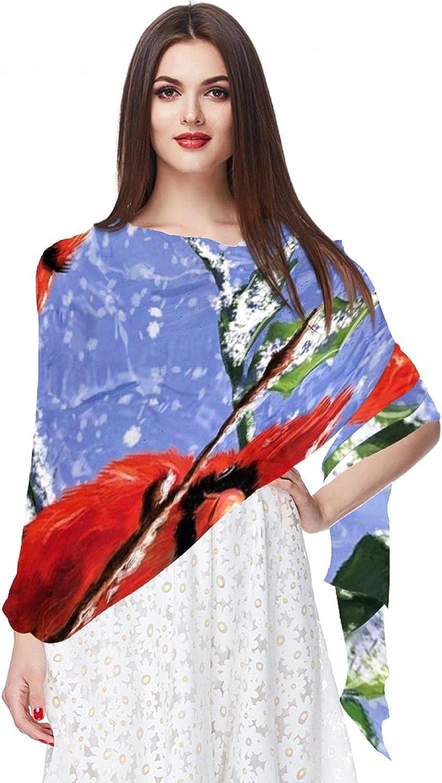 Scarfs for Women Lightweight Fashion Scarves Print Floral Pattern Scarf Shawl Wraps, Snow Branch Red Bird