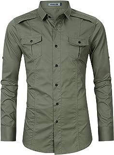 Kuulee Men's Casual Slim Fit Cargo Shirt Long Sleeve Work Shirt Dress Shirt Tactical Shirt Outdoors
