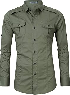 Men's Tactical Cargo Shirt Work Military Casual Slim Fit Long Sleeve Shirts Tops