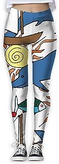 XMKWI Smile Dolphin Women's Power Flex Gym Yoga Pants Workout Tights Leggings Trouser