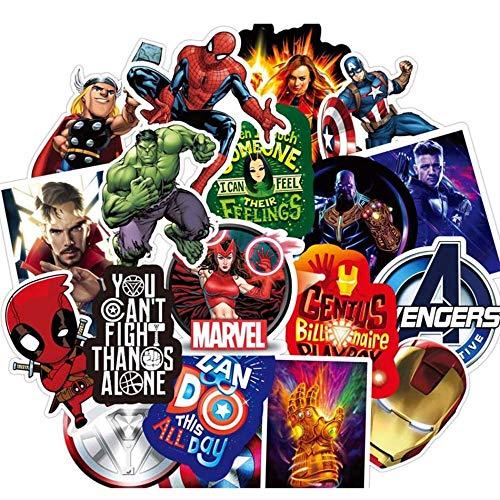 LZWNB Vengadores Pegatinas Cool Marvel Iron Man Spiderman Impermeable portátil Guitarra Viaje Equipaje Pegatina Chico niña Juguete 50 Uds