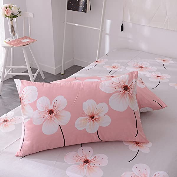 EnjoyBridal Flower Pattern Print Pillowcases Anti Wrinkle Reversible Pillowslip For Kids Boys Girls 2 Piece 100 Cotton Lightweight Pillow Covers For All Seasons No Pillow 20 26 Pink Grey2