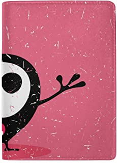 Cute Black Monster with Emotions Blocking Print Passport Holder Cover Case Travel Luggage Passport Wallet Card Holder Made with Leather for Men Women Kids Family