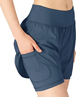 donhobo Womens Running Gym 2 in 1 Sports Shorts with Pockets,Breathable Quick Dry Fitness Shorts for Workout Training Yoga...