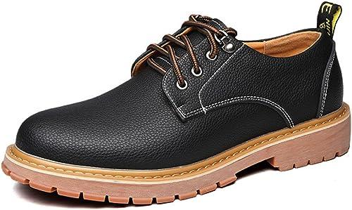 SRY-chaussures Chaussures de Travail pour Hommes Simples en en Cuir PU Décontracté Lace Up Soft Outsole Flats (Couleur   Noir, Taille   CN27)  magasin discount