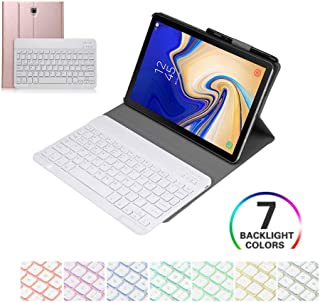 Samsung Galaxy Tab S4 10.5 2018 Keyboard Case Cover, 7 Color Backlit Slim Folio Shell Protective Stand Pu Leather Cover Removable Wireless Bluetooth Keyboard for SM-T830/T835/T837 (Rose Gold)
