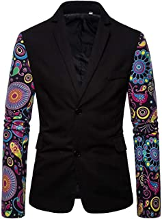 Funnygals - Men's Casual Blazer Printed Suit Jackets Two Button Slim Stylish Blazers Coats Chic Jacket for Party Wedding