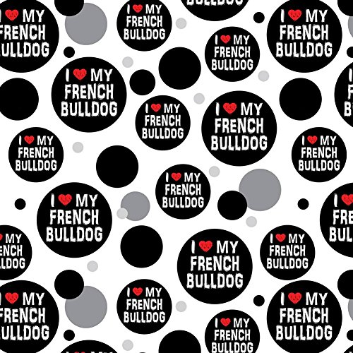 Premium Gift Wrap Wrapping Paper Roll Pattern - I Love My Dog E-K - French Bulldog