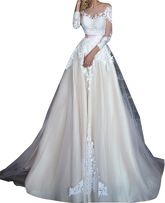 LISA.MOON Women's Jewel A Line Lace Applique Long Sleeve Tulle Wedding Dress