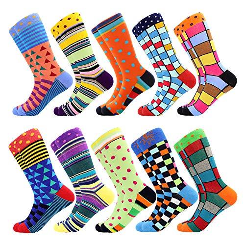 BISOUSOX Chaussettes Homme Fantaisie Chaussettes de Mode Classique, Socks Chaussettes à Motifs Drôles Confortable et Respirant Cadeau pour Amis/Festival(39-46,Multicolore)