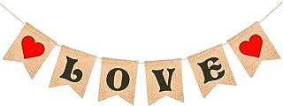 LOVE Burlap Heart Banner - Assembled Banner | No DIY | Valentines Day Decorations - Valentine's Decorations | Valentines Day Banner Sign for Engagement, Wedding, Anniversary Decor, Valentines Garland