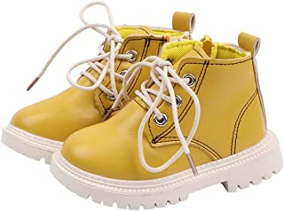 🌟 Sherostore 🌟 Boy's Girl's PU Waterproof Child Martin Boots Side Zipper Lace-up Ankle Boots