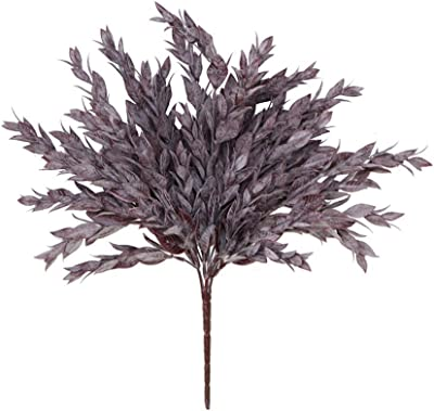 "Artificial Dark Frosted Burgundy Eggplant Ruscus Leaf Bush - 15"" Tall"