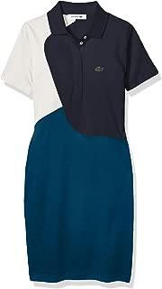 Womens Short Sleeve Pima Color Block Polo Dress