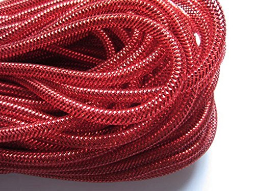 YYCRAFT 15 Yards Solid Mesh Tube Deco Flex for Wreaths Cyberlox CRIN Crafts 8mm 3/8-Inch (All Red)