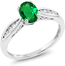Gem Stone King 10K White Gold 0.67 Ct Oval Green Simulated Emerald and Diamond Engagement Ring