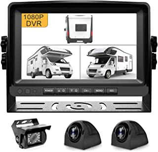 $299 » Fursom 1080P 9'' Wired Backup Camera System, 3 x HD Side Rear View Cam, Split Screen, Buit-in DVR, Clear Night Vision, IP6...