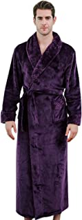 Elonglin Bathrobe Women Men Flannel Fleece Full Length Dressing Gowns Thickened Housecoat Sleepwear Large Size Nightwear D...